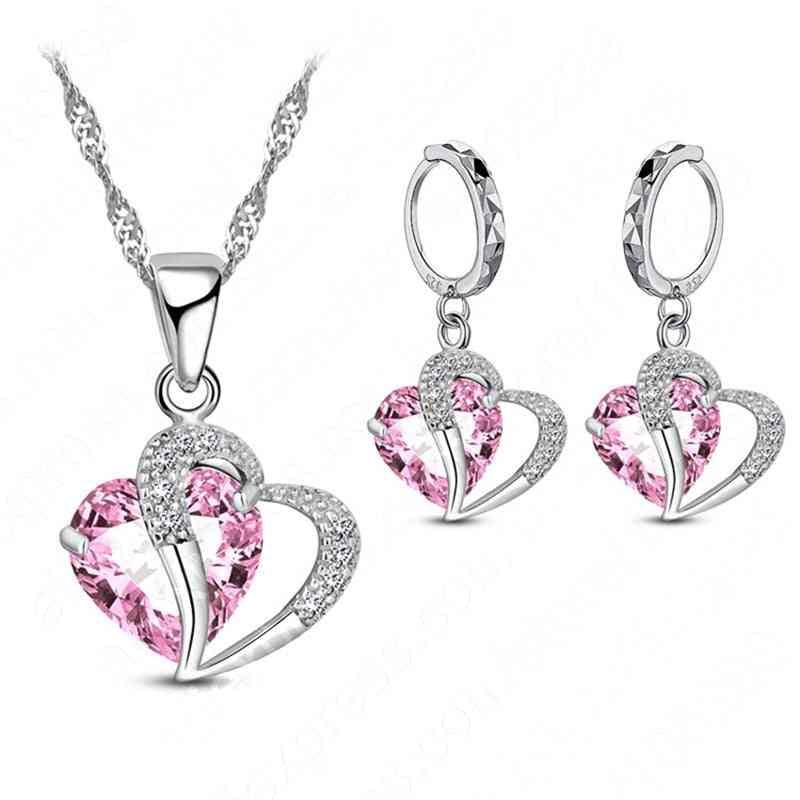 925-sterling Silver Cubic-zircon Necklace Set
