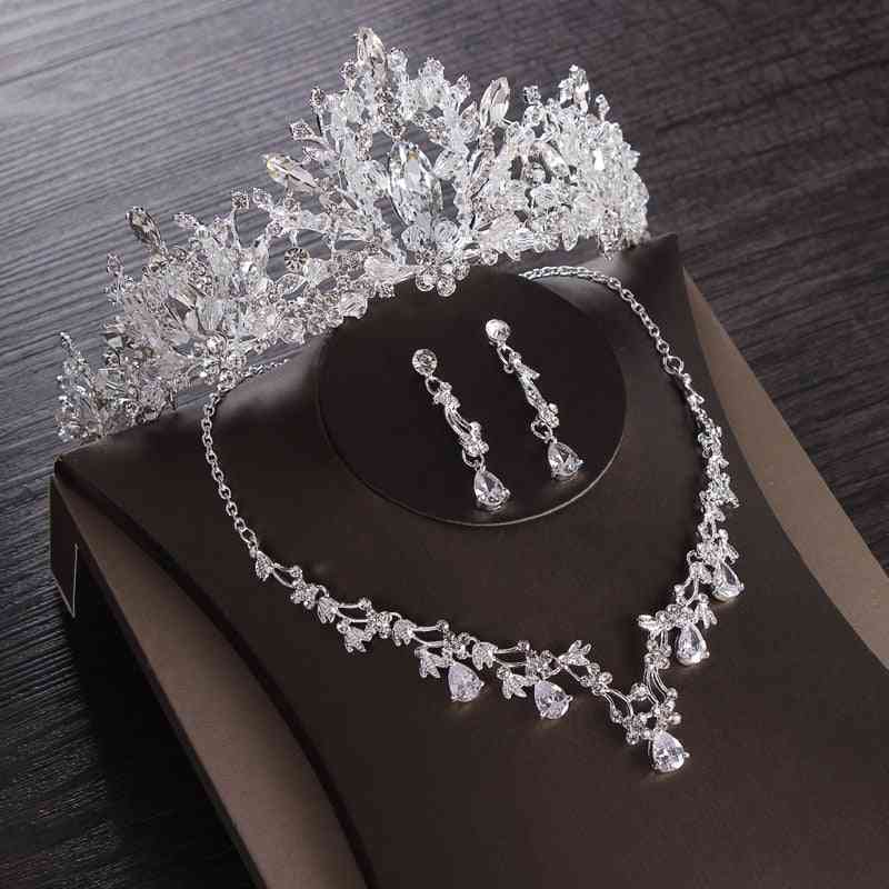 Crystal Heart Jewelry Sets - Crown, Earring, Necklace