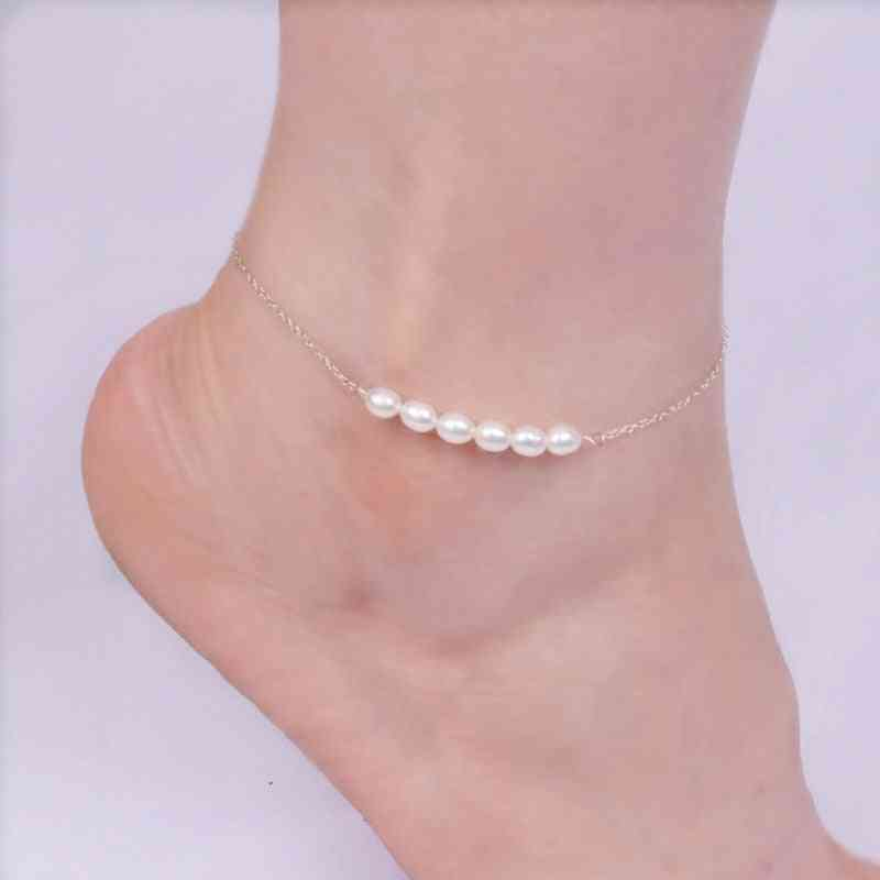 925 Sterling Silver Anklets For Women With Natural Freshwater Pearls