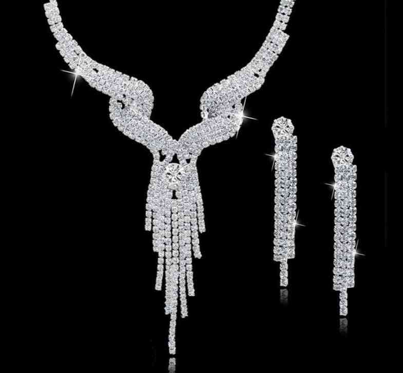 Long Tassel Wedding Crystal Bridal Jewelry Set