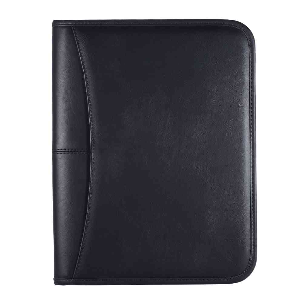 Professional Business Portfolio Folder, Document Case Zippered Closure With Card Holder