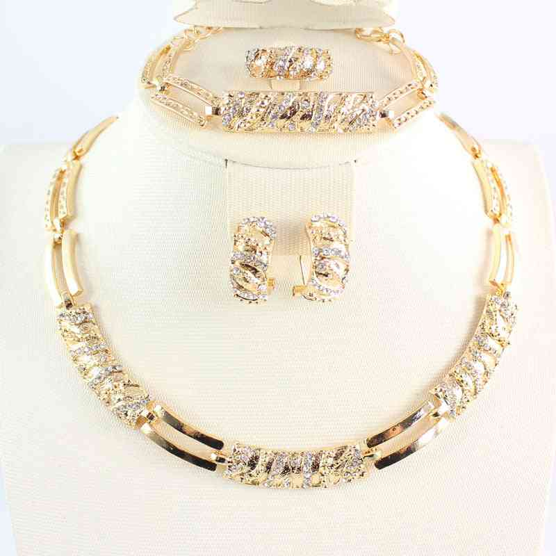 Women Beads Crystal Necklace, Earring Ring & Bracelet Jewelry Set