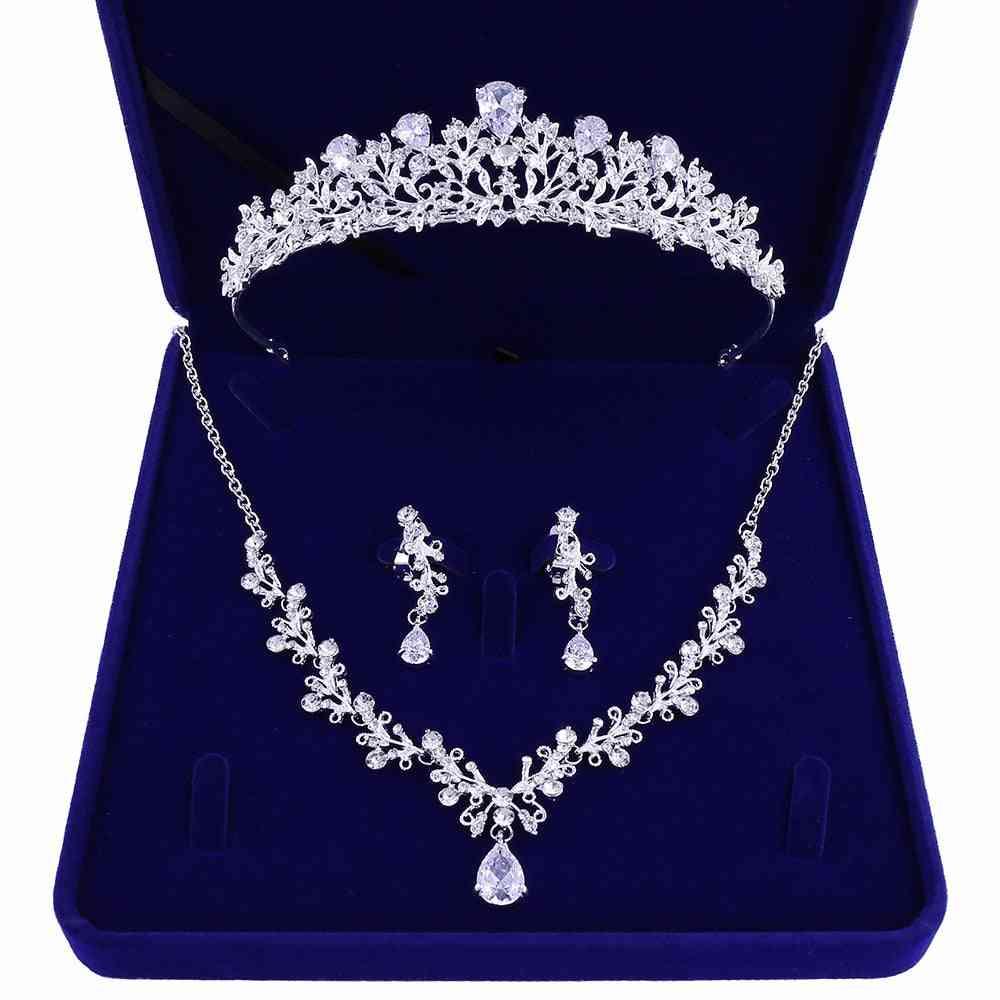 Women Bridal Jewelry Rhinestone Crown, Necklace & Earrings Set