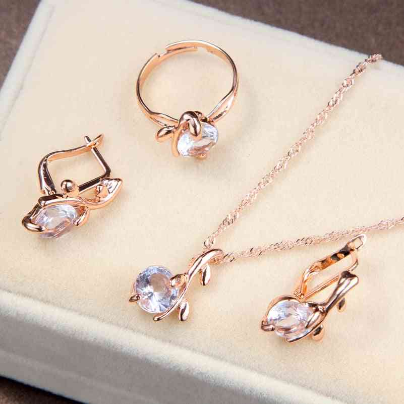 Women Crystal Pendants Necklaces, Earrings & Ring Bridal Jewelry Sets