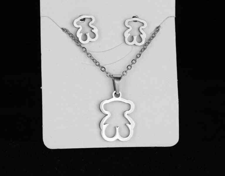 Necklace, Earring Sets, Bear Cross Clover Never Faded Color Choker