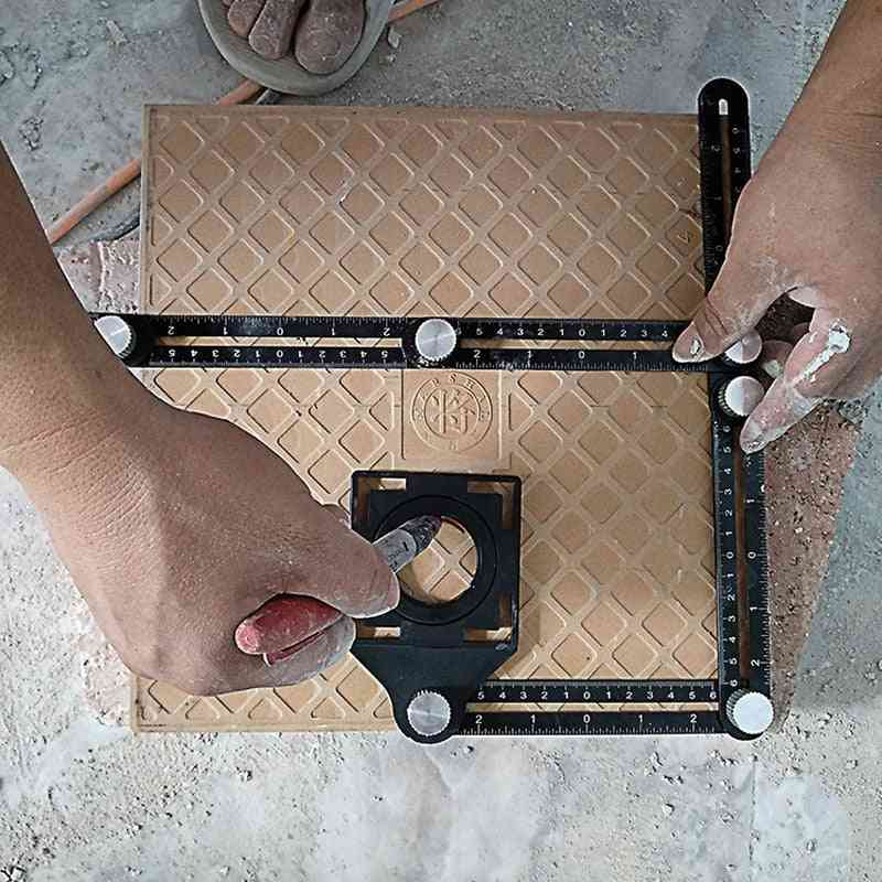 Multi Angle Measuring Ruler, Aluminum Folding Positioning Diy Wood Tile Tool