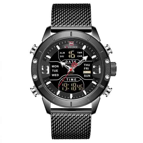 Sport Analog Digital Watches, Men Stainless Steel Watch