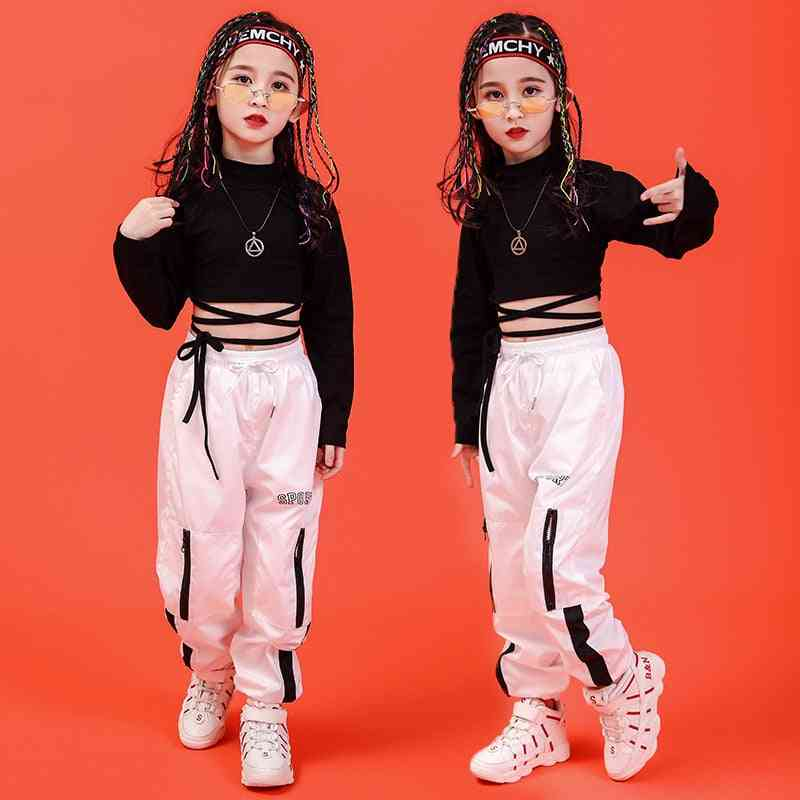 Children Hip-hop Clothing Sweatshirt, Casual Pants For Girl Ballroom Dancing Clothes