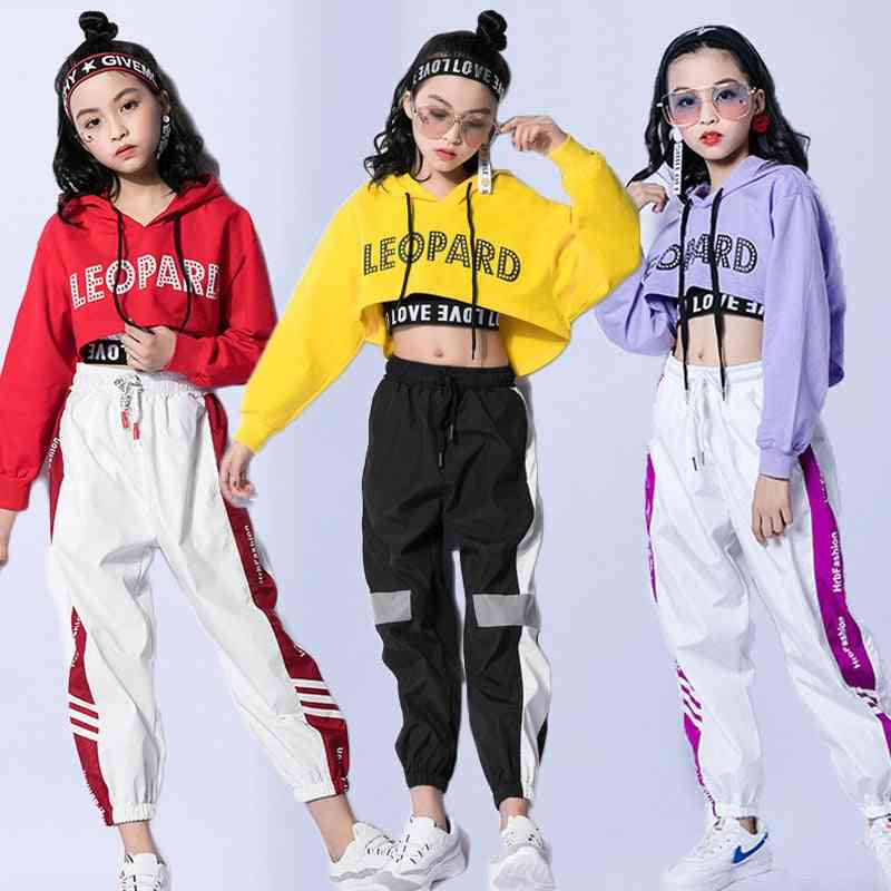 Dance Costumes Hip-hop Kids Long Sleeve Hooded, Top Vest Pants/clothes Street