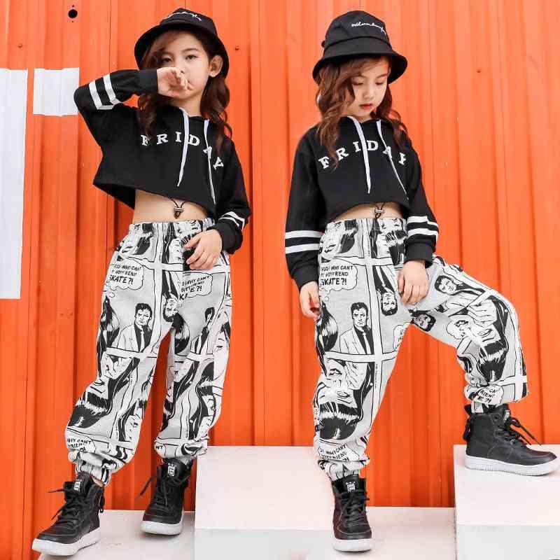 Kid Print Casual Pants/hoodie/shirt/sweatshirt, Girl Hip-hop Dance Clothes Costume