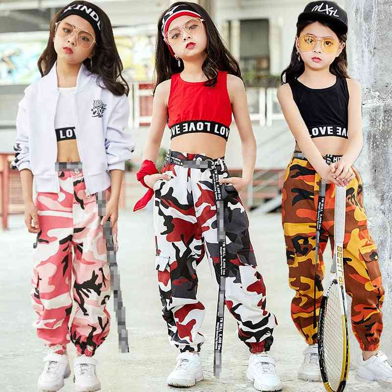 Girls Hip-hop Street Dancing Clothing, Vest Pants Kids Performance Dance Clothes