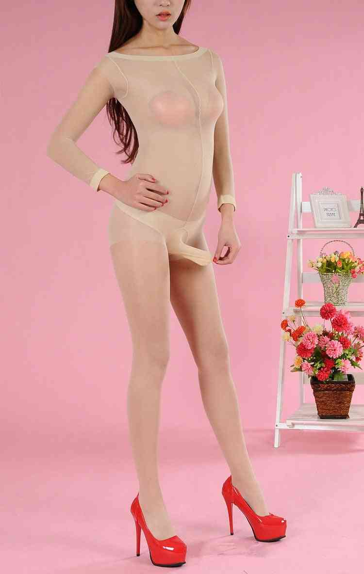 Tights Ultra Elastic Mens Pantyhose Silk Penis Pouch Sheath