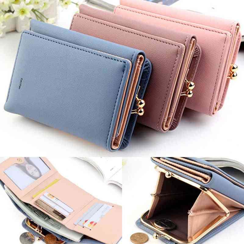 Women Wallets Mini Money Purses Small Fold Leather Coin Purse Card Holder