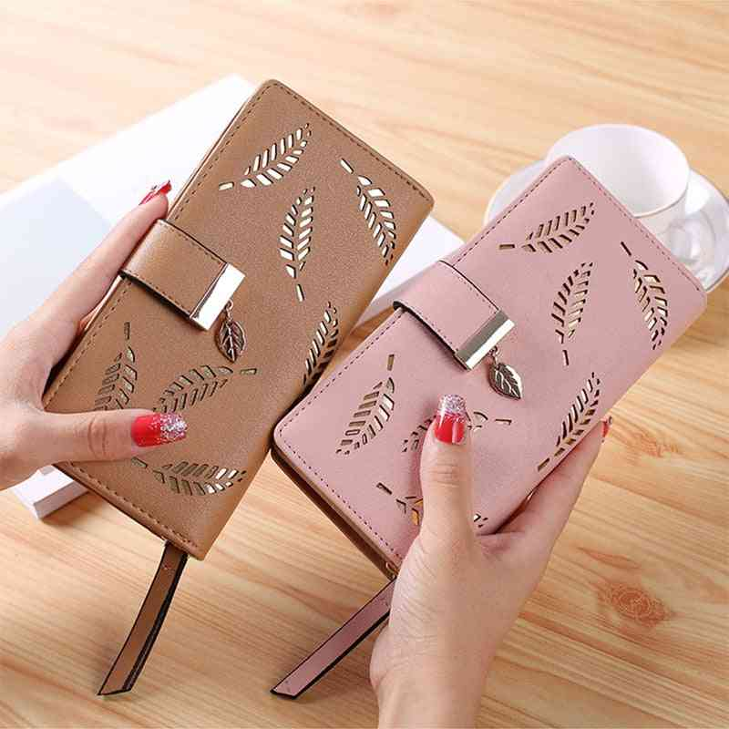 Women Leather Wallet, Leaves Pouch Handbag For Coin Purse Card Holders