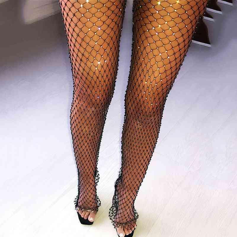 Women Mesh Shiny Rhinestone Pants