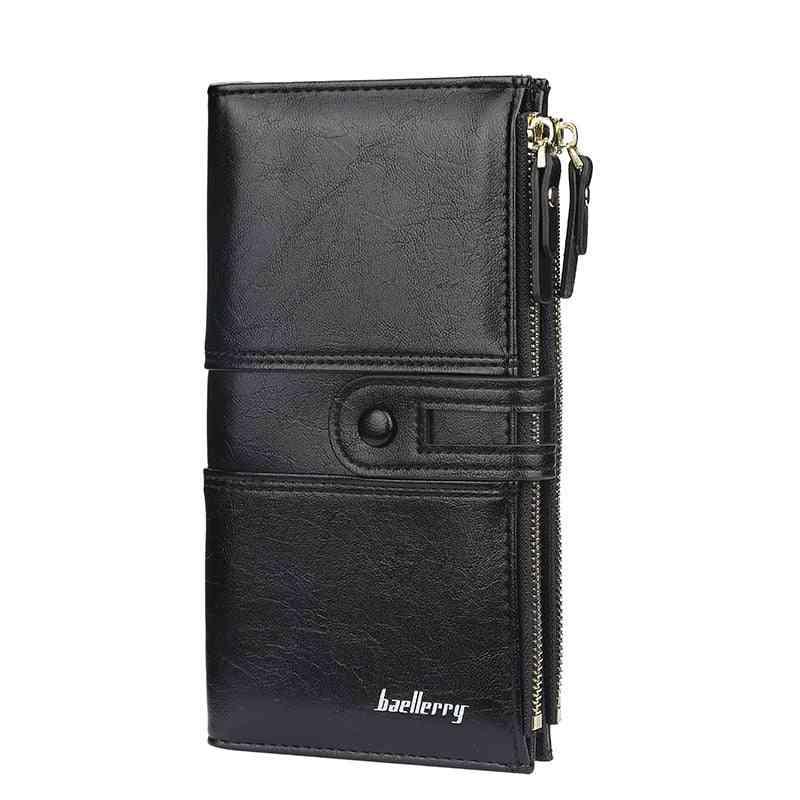 Women Fashion Long Leather Wallet, Card Holder Zipper Purse