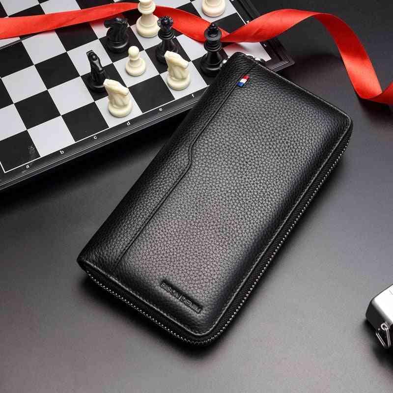 Genuine Leather Wallet Men, Long Purse Coin Pocket/passport/card Holder