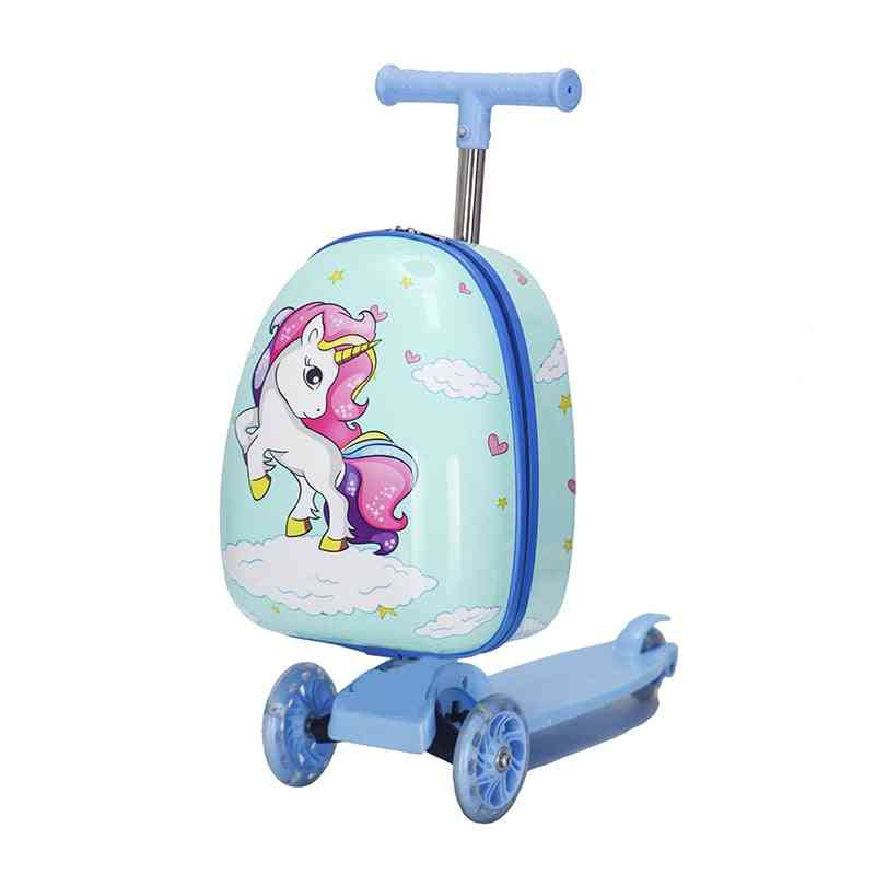 Cute Cartoon Kids Scooter Suitcase, Lazy Trolley Bag