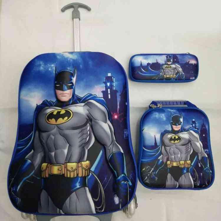 Luggage Bags/children Eva Wheeled Student Cartoon Batman Design Trolley School  (a Set)