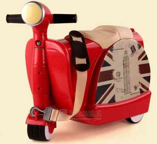 Scooter Luggage's Motorcycle Suitcase, Ride Boys And Girls Baby Trunk Trolley Case