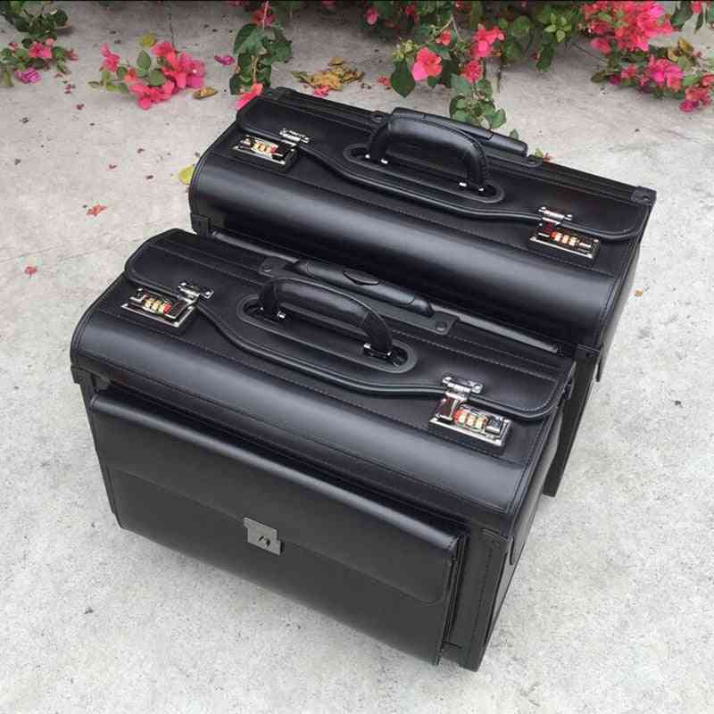 Genuine Cow Leather Airline  Pilot Trolley Luggage Cabin Suitcase Bag For Business