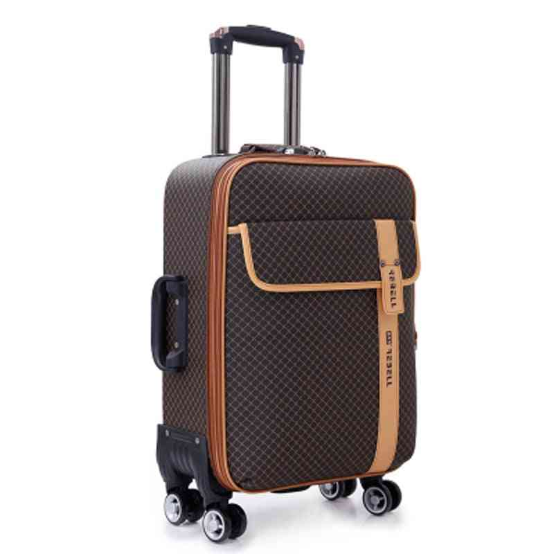 Luxury Pu Rolling Luggage Spinner Brand Woman Travel Business Suitcases