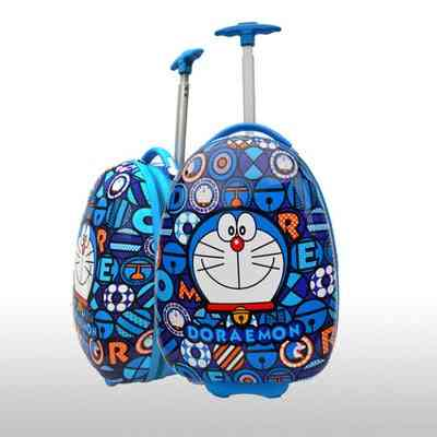 Lovely Cartoon Trolley Case Child Trip Doraemon Egg Shaped Luggage Cat Suitcases Baby  (16 Inch)