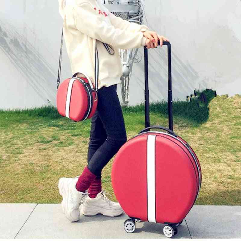 Women Rolling Suitcase With Cosmetic Round Abs+pc Travel Luggage Bag ,universal Wheel Trip Trolley