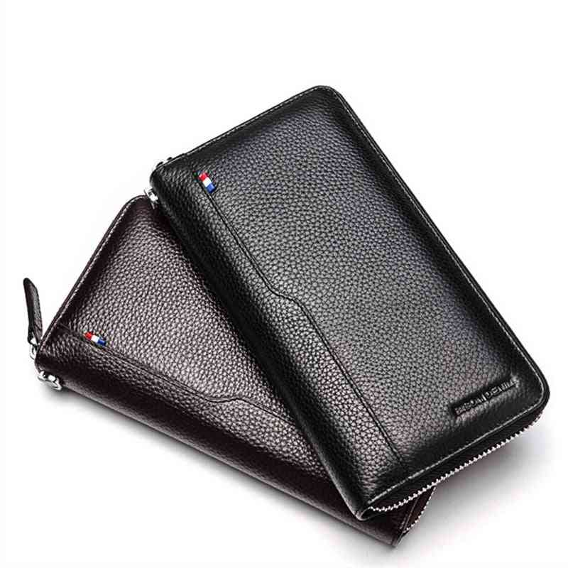 Cow Leather Clutch Wallets For Men - Rfid Blocking Card Holder