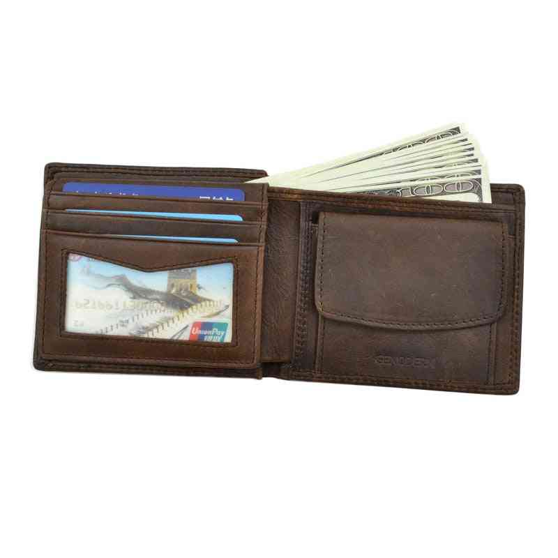 Genuine Cow Leather Men Wallets With Coin Pocket, Vintage Purse & Card Holders