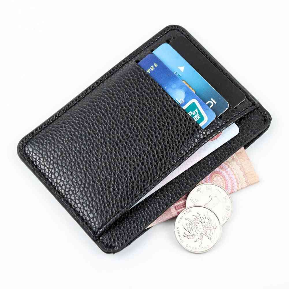 Men Card Holder, Pu Leather 6 Cards Slot Ultra-thin Lichee Pattern Wallet