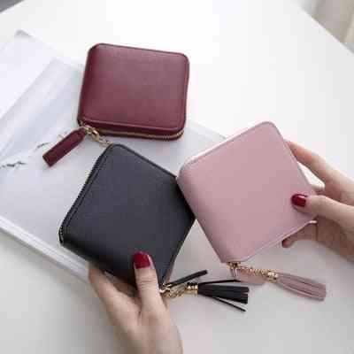 Short Pu Women's Purse, Zipper Button Small Pocket Wallet
