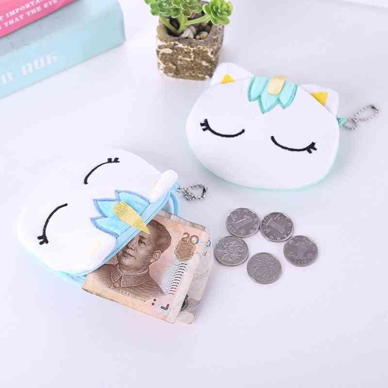 Mini Cute Oval Zipper, Soft Plush Cartoon Unicorn Women Coin Purse