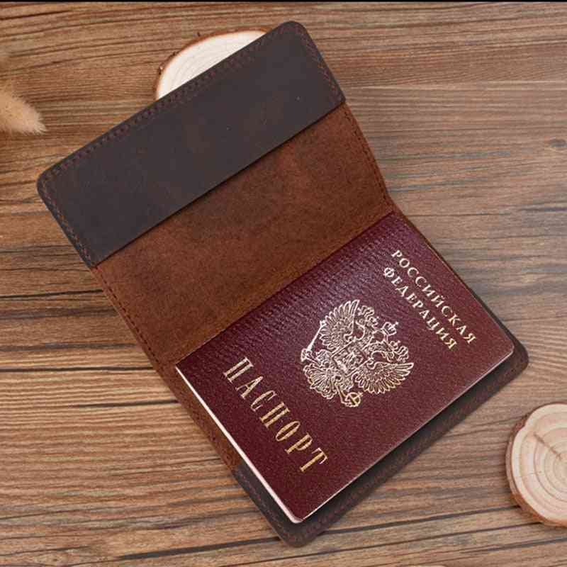 Real Leather Passport Cover, Genuine, Engraved Covers For Full Grain