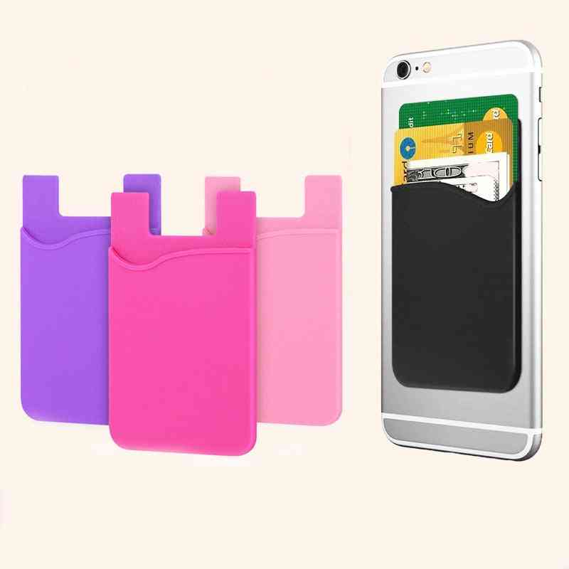 Double Pocket Elastic Stretch Silicone Cell Phone, Id, Credit Card Holder, Sticker Wallet Case