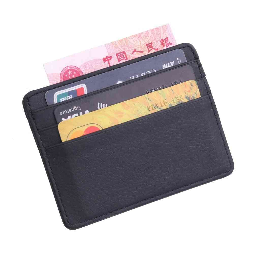 Durable Slim Simple Leather Business Id Card Wallet Holder Case With Coin Purse