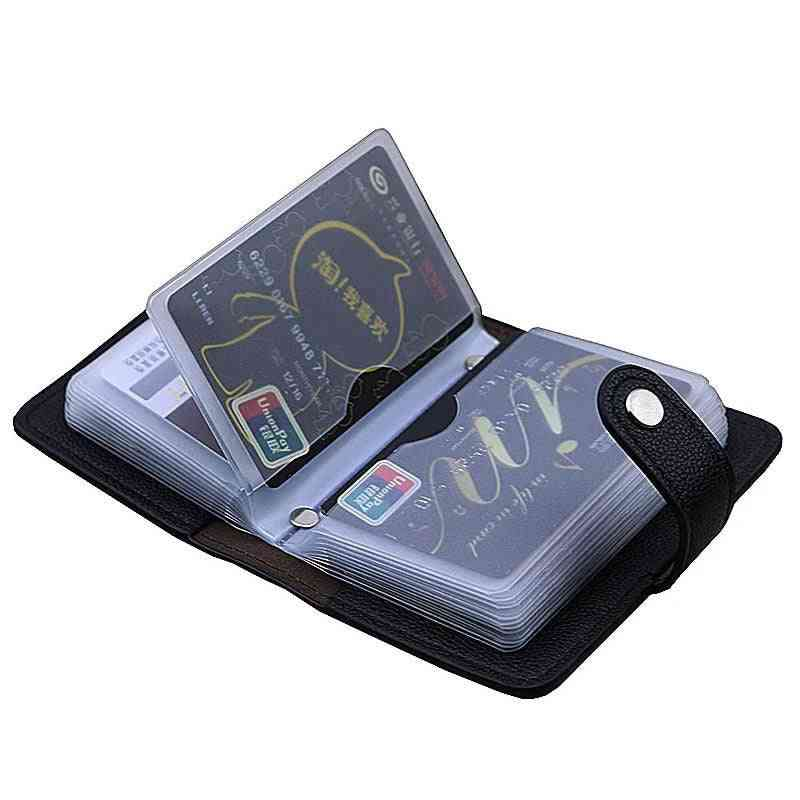 Pu Leather Id Card Holder, Multifunction Business Bank Case, Wallet Bag