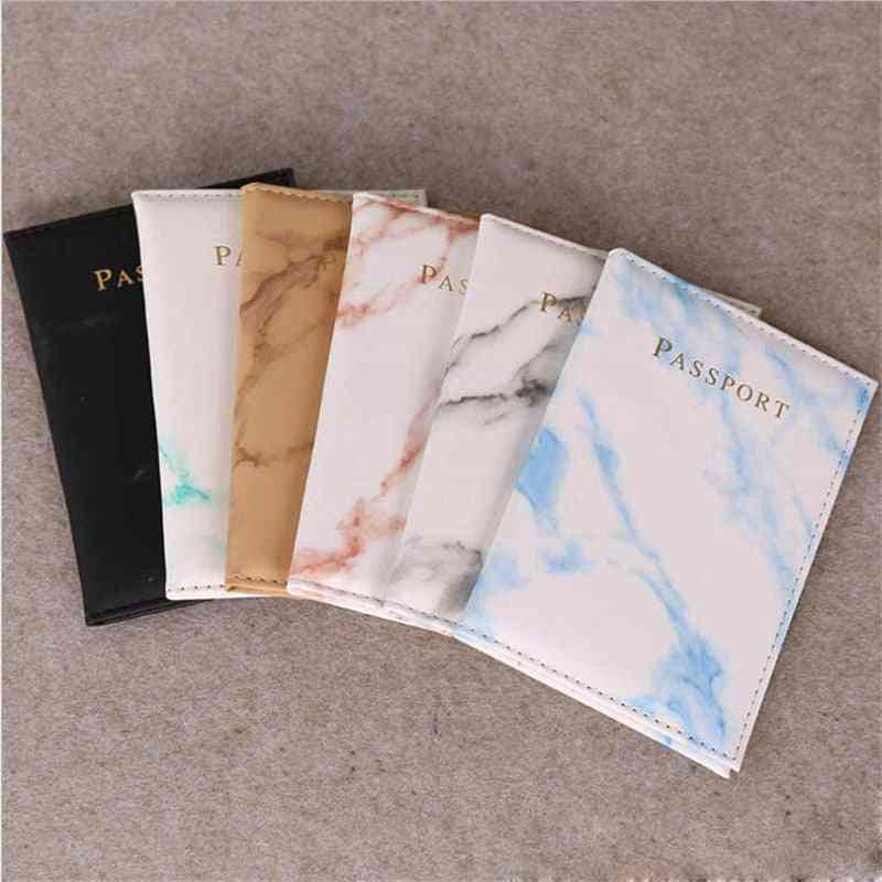 Passport Cover Pu Leather Marble Style, Travel Id Credit Card Holder