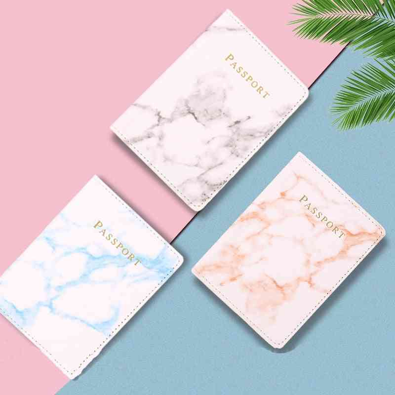 Travel Accessories, Vintage Marble Passport Holder Id Cover, Pu Leather Wallet Case