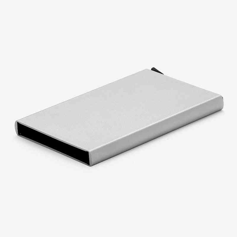 Stainless Steel Credit Card Holder, Slim Anti Protect Travel Id Card& Wallet Case