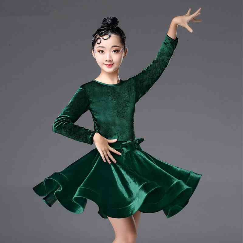 Girl's Long Sleeve Latin Dance Dress