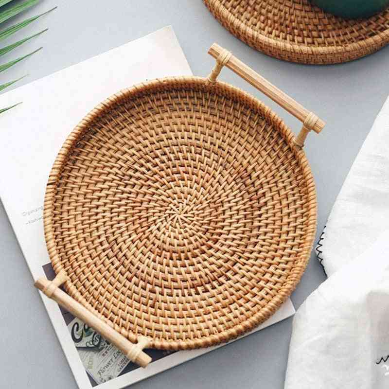 Hand-woven Round Basket With Handle