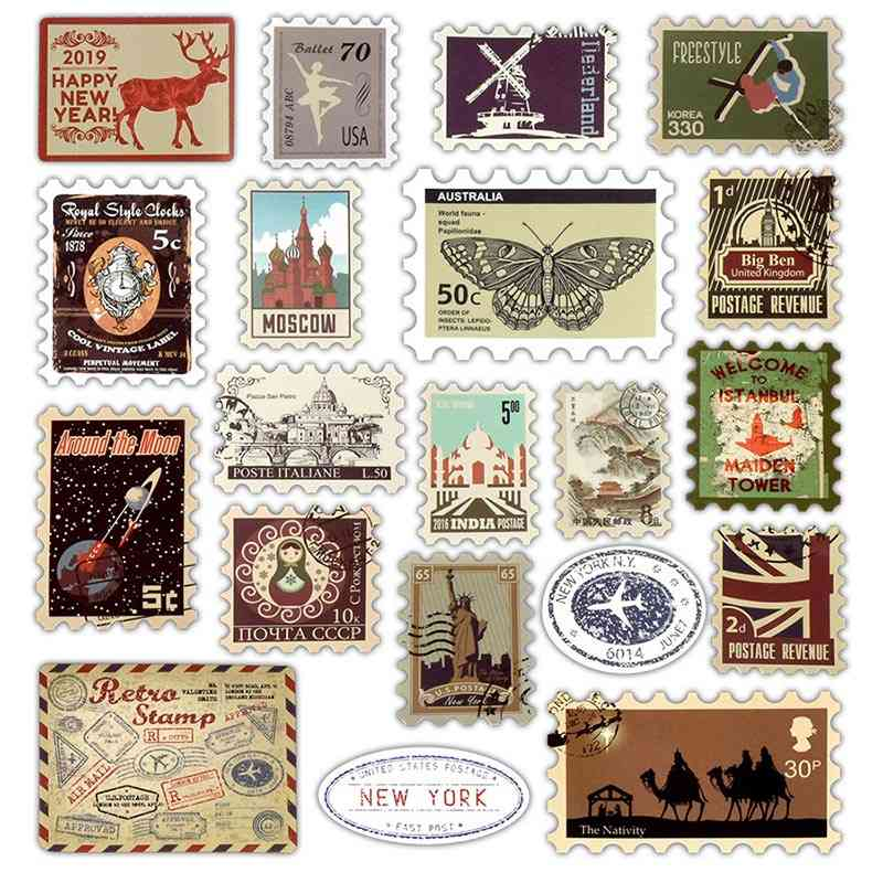 Retro Various Countries Stamps Stickers For Ipad/laptop/refrigerator