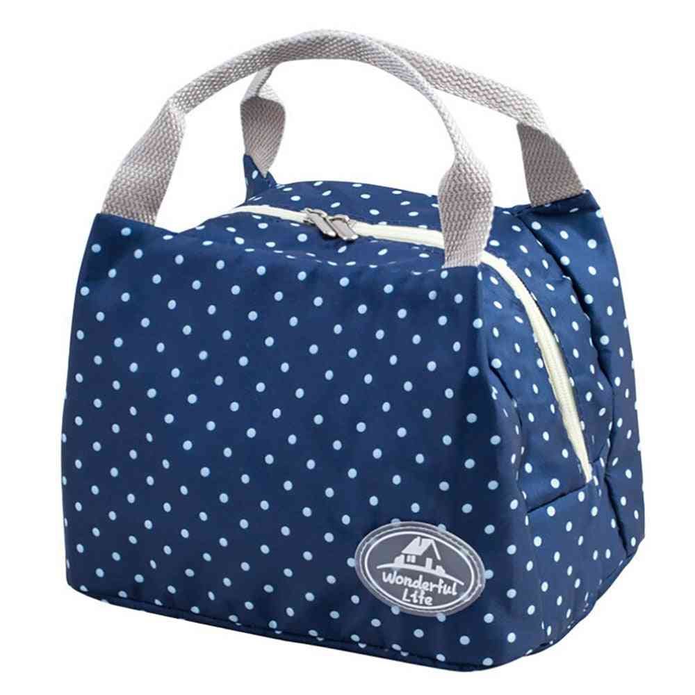 Portable Insulated Cold Canvas Stripe Picnic Carry Case, Thermal Lunch Bag