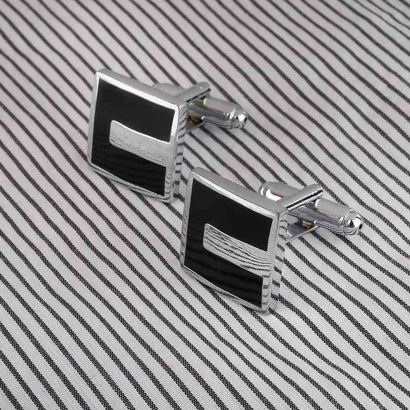 French Style Business Men Cufflinks Square Shaped Cuff Links Brass Stamping