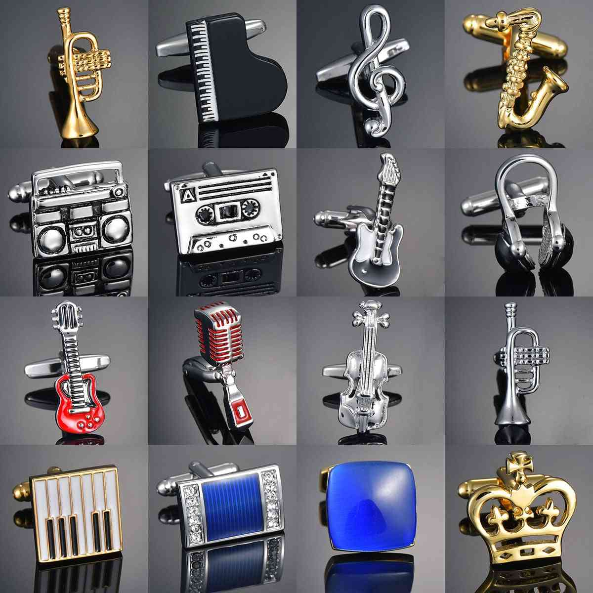 Guitar/music/recorder/microphone/trumpet Cufflinks Music Design Bouton