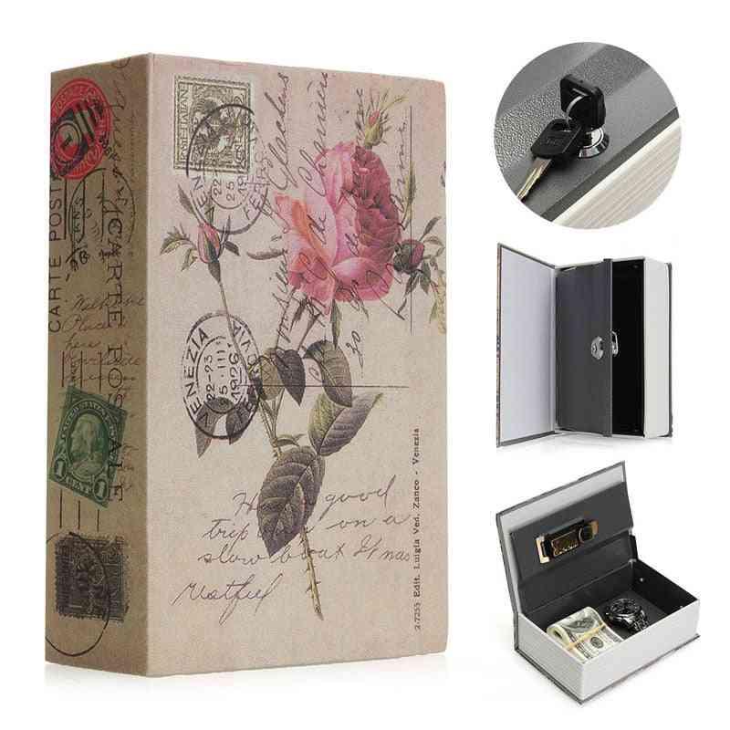 Book Safes Fun Simulation Key Lock, Box Metal Steel, Cash Secure Secret, Hidden Piggy Bank Storage