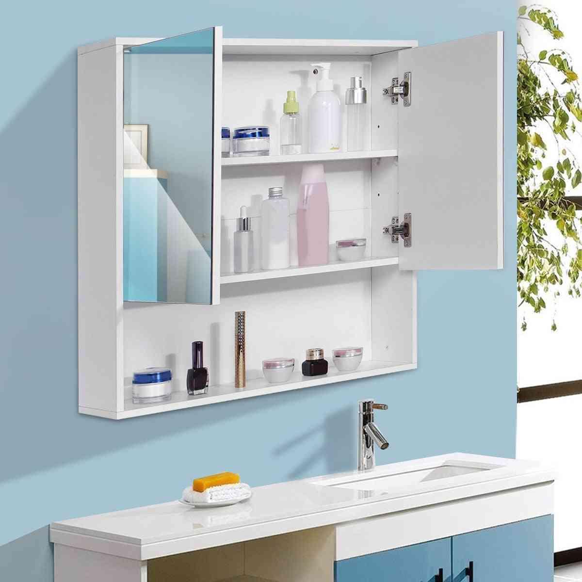 Bathroom Mirror Cabinet, Wall Mounted Furniture Cupboard Shelf Storage Cabinets