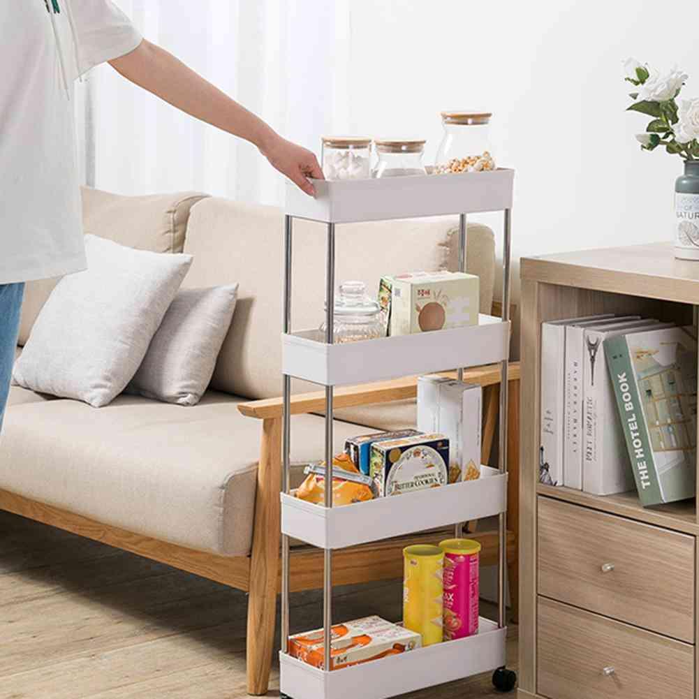 Storage Rack Cart, Bathroom Movable Shelf With Wheel