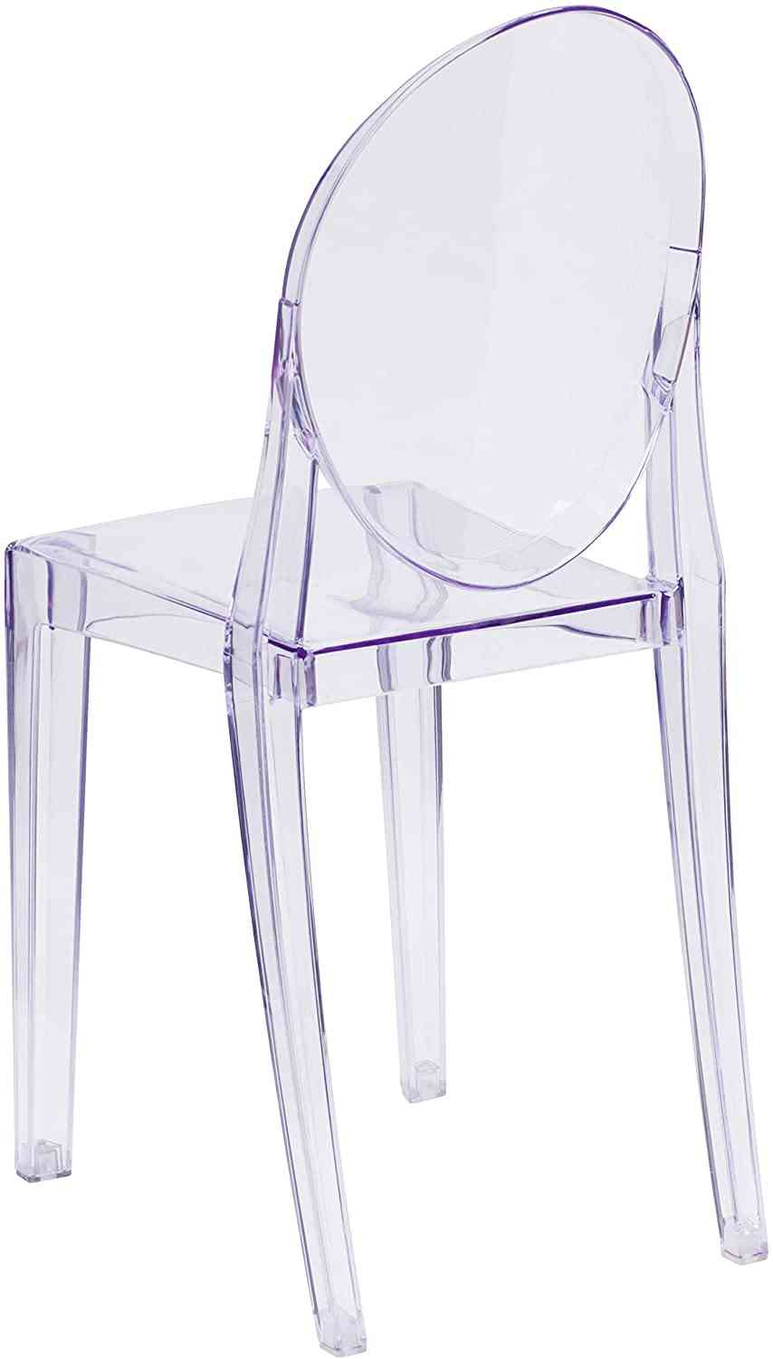Modern Transparent Crystal Dining Chair With Oval Back